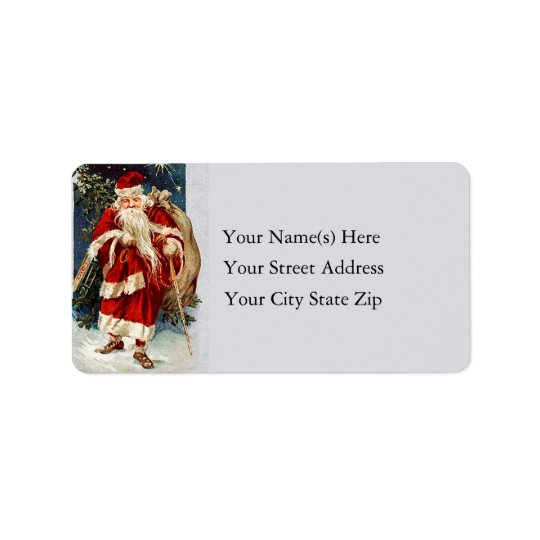 Santa on old Country Lane Vintage Address Label