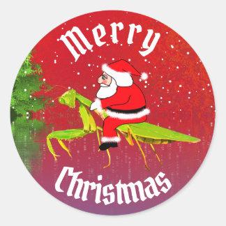 Santa On Praying Mantis Christmas Stickers