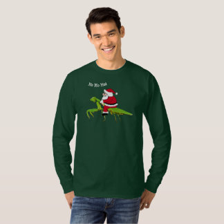 Santa On Praying Mantis Christmas T-shirt