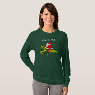 Santa On Praying Mantis Funny Christmas T-shirt