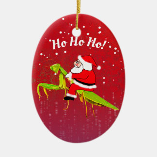 Santa On Praying Mantis Funny Xmas Ornament