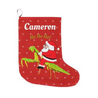 Santa On Praying Mantis Personalised Xmas Stocking