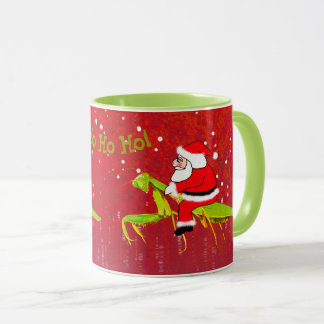 Santa On Praying Mantis Weird Christmas Mug