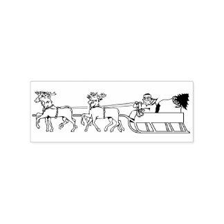 Santa on Reindeers Sled Sleigh Kids Christmas DIY Rubber Stamp