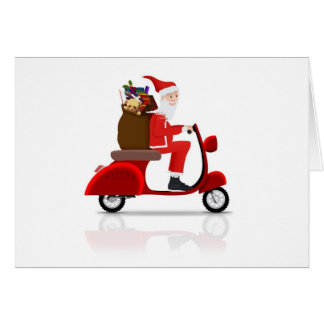 Santa on Scooter Card