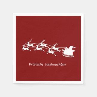 Santa On Sleigh Fröhliche Weihnachten Disposable Serviettes