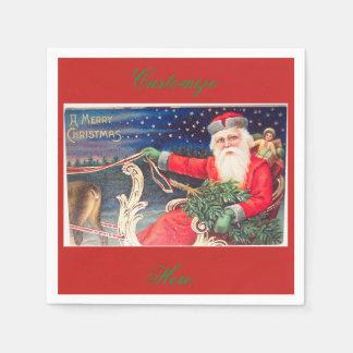 Santa on sleigh Thunder_Cove vintage Disposable Napkins