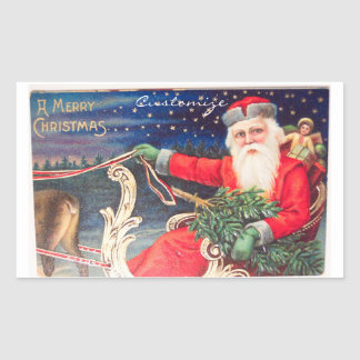 Santa on sleigh Thunder_Cove vintage Rectangular Sticker
