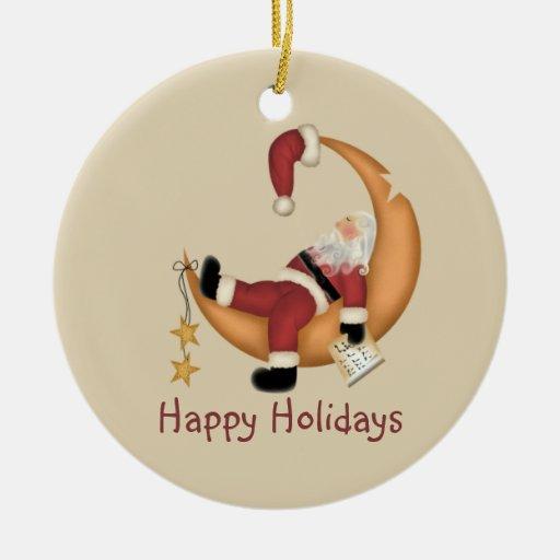 Santa on the Moon Christmas Tree Ornaments