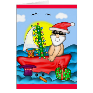 Santa on Vacation with Snow Buddy Card