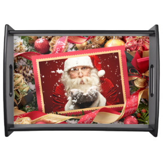 Santa or YOUR PHOTO custom Christmas serving trays