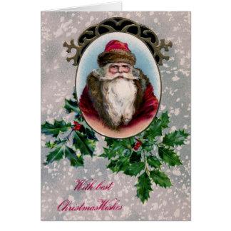 santa oval frame vintage card