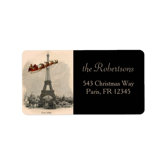 Santa Over Paris Christmas Label