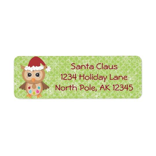Santa Owl Return Address Label