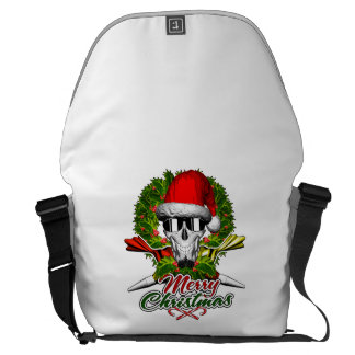 Santa Pastry Chef Skull: Merry Christmas Courier Bags