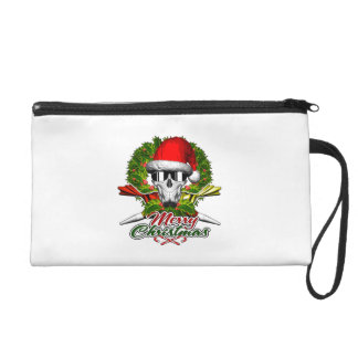 Santa Pastry Chef Skull: Merry Christmas Wristlet Purse
