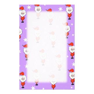 Santa Pattern. Purple Christmas Pattern. Stationery