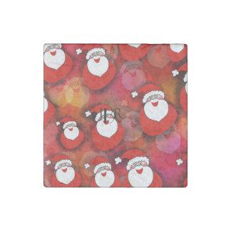 Santa Pattern Stone Magnet