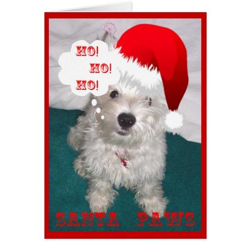 Santa Paws Cute Puppy Christmas Card