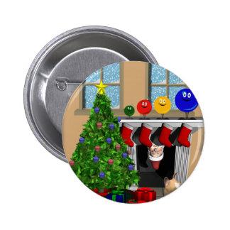 Santa peeking with 4 ordiment on the mantel pin