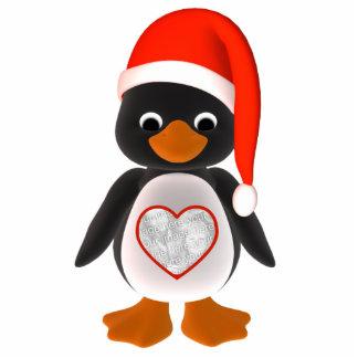 Santa Penguin Custom Photo Holiday Ornament Photo Sculpture Decoration