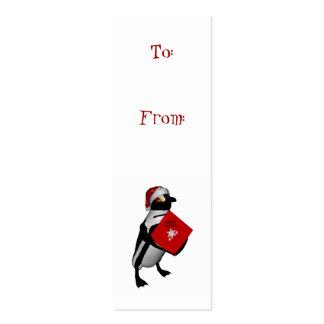 santa penguin gift tag pack of skinny business cards
