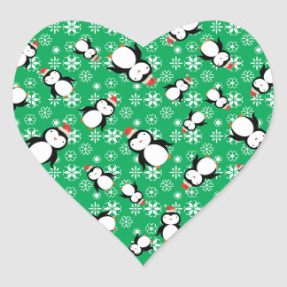 Santa penguin green snowflakes heart stickers