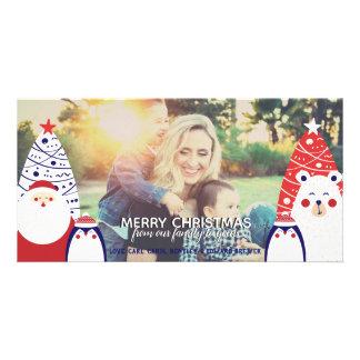 Santa Penguin & Polar Bear Christmas Photo Card
