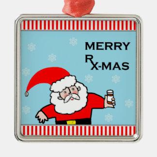 Santa Pharmacist Metal Ornament