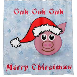 Santa Piggy Shower Curtain