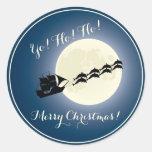 Santa Pirate Ship w/ Dolphins Christmas Holiday Round Sticker