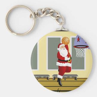 Santa Playing Basketball Keychain