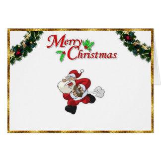 Santa Playing Football on a Christmas Card