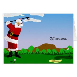 Santa Playing Golf Card