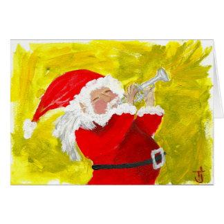 Santa playing trumpet! card