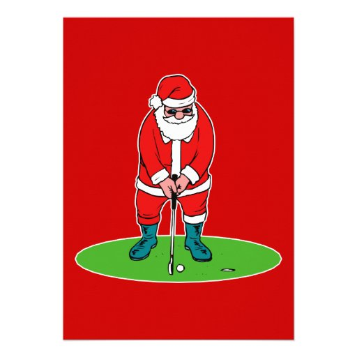 Santa plays golf custom invitations