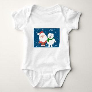 Santa Polar Bear Christmas Snow Snowflakes Cute Baby Bodysuit