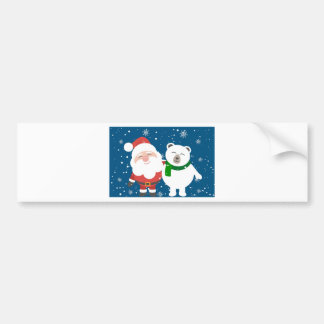 Santa Polar Bear Christmas Snow Snowflakes Cute Bumper Sticker