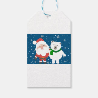 Santa Polar Bear Christmas Snow Snowflakes Cute Gift Tags