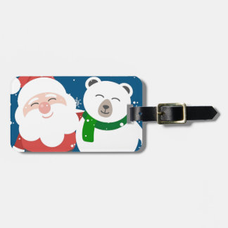Santa Polar Bear Christmas Snow Snowflakes Cute Luggage Tag