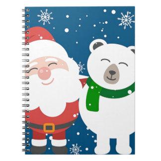 Santa Polar Bear Christmas Snow Snowflakes Cute Notebooks