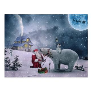 Santa, polar bear, sleigh, reindeer, Christmas Postcard
