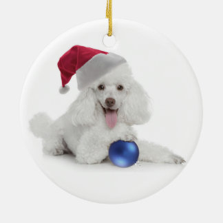 Santa Poodle Ornament