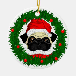Santa Pug Ceramic Ornament