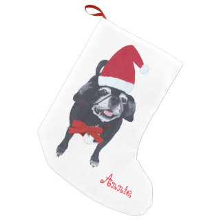 Santa Pug Dog Personalized Christmas Stocking