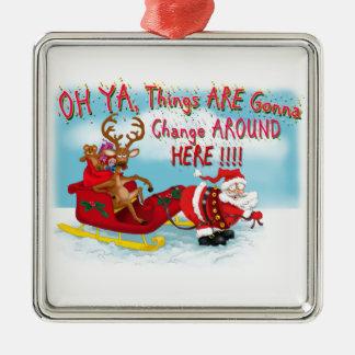 Santa pulling reindeer! metal ornament