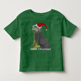 Santa Puppy Merry Christmas Toddler T-Shirt