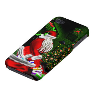 Santa  Putting Gifts Under Christmas Tree Iphone 4 iPhone 4/4S Cover