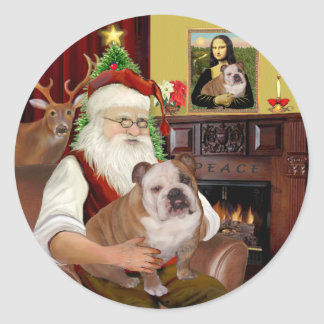 Santa (R) - English Bulldog 1 Classic Round Sticker