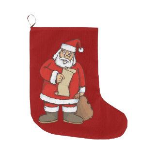 Santa reading large christmas stocking